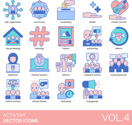 Line icons of activism and human rights movement, hashtags, astroturfing, artivism, social movement, watchdog