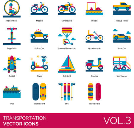 Flat icons of transportation mode, land, water, air, space transport, car, vessel, snowboard