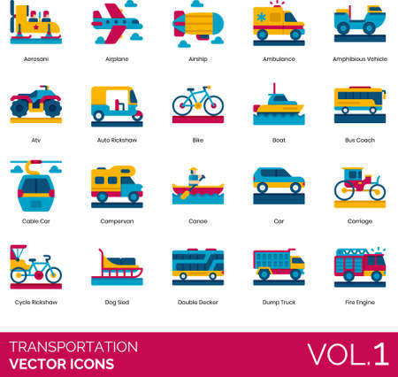 Flat icons of transportation mode, land transport, watercraft, aircraft, private and public vehicle