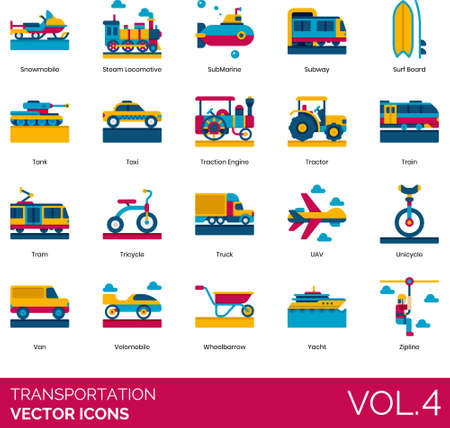 Flat icons of transportation mode, rail, road, water, air transport, public and personal transportation
