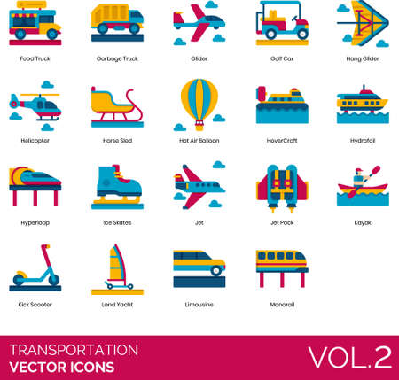 Flat icons of transportation mode, land transport, aircraft, watercraft, personal and public vehicle