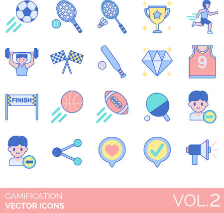 Line icons of gamification, game design elements, sports, follow, share, message 矢量图像