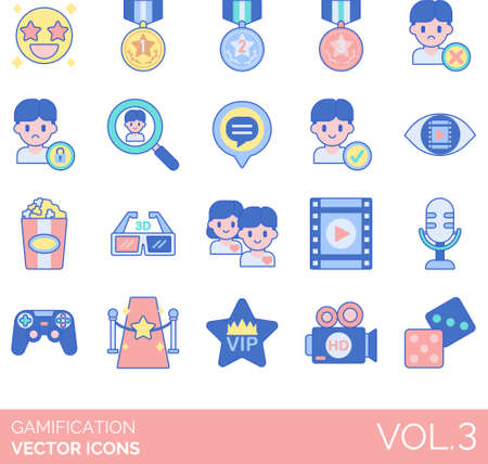 Line icons of gamification, game design elements, badge, follower, movie Иллюстрация