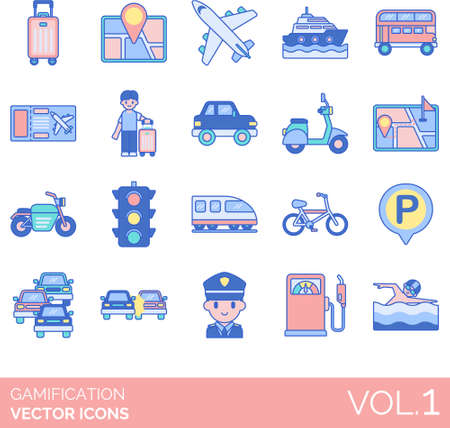 Line icons of gamification, game design elements, transportation, activity, traffic, navigation, traveling