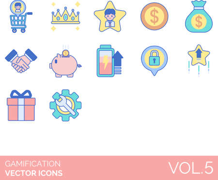 Line icons of gamification, game design elements, customer, money, settings