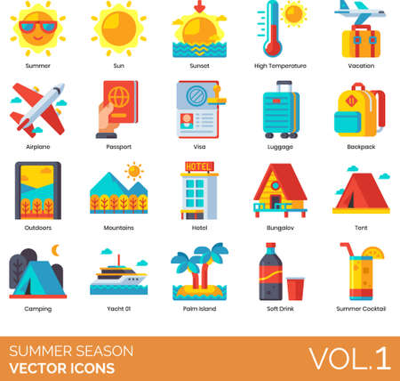 Flat icons of summer season holiday, travel, outdoor activities, accommodation, beverages