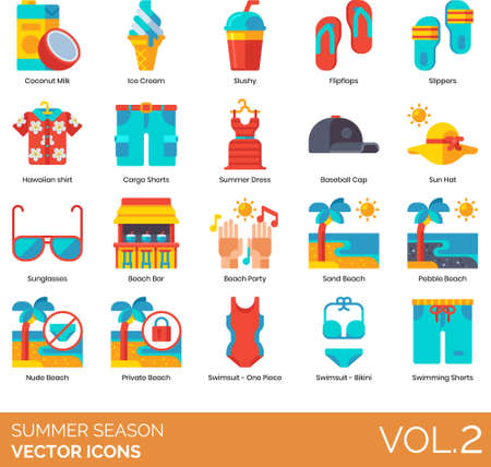 Flat icons of summer season and vacation, beach fashion, tropical beverages, party 矢量图像