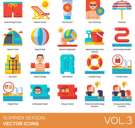 Flat icons of summer season and vacation, swimming lesson, beach activities, outdoor equipment