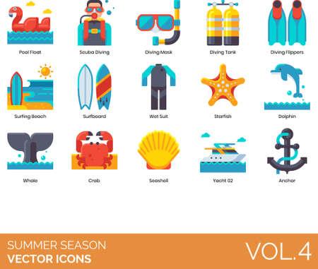 Flat icons of summer season and vacation, diving equipment, sea animals, anchor 矢量图像