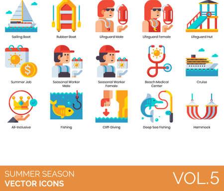 Flat icons of summer season and vacation, summer job, fishing, hammock