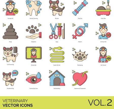 Line vector icons of veterinary, pet sterilization, grooming, online vet, pet boarding