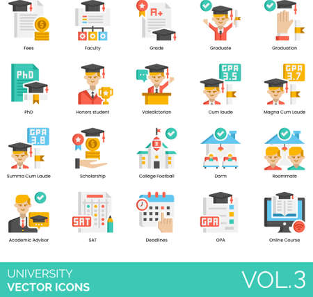 Flat icons of university and college study, cum laude, scholarship, GPA, online course