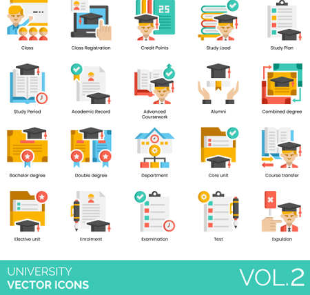 Flat icons of university and college study, academic record, degree, examination