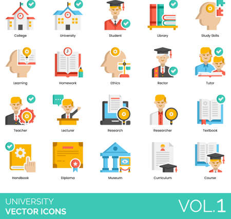Flat icons of university and college study, homework, lecturer, research, curriculum