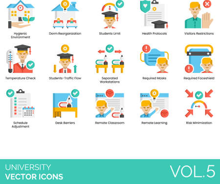 Flat icons of university and college study, hygienic environment, health protocols, schedule adjustment, remote learning