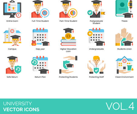 Flat icons of university and college study, thesis, campus, gap year, students union 矢量图像
