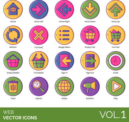 Line icons of web navigation button, elements, UI, pictogram, e-commerce, media player for website and app