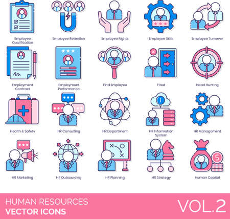 Line icons of human resources management, employee skills, headhunting, HR marketing, human capital