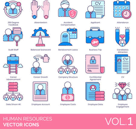 Line icons of human resources management, career, company structure, data driven HR