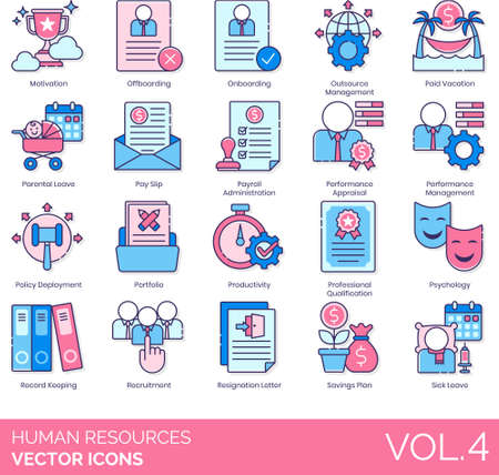 Line icons of human resources management, payroll administration, performance appraisal, portfolio, resignation, sick leave