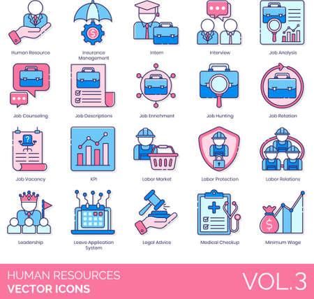 Line icons of human resources management, job analysis, job vacancy, labor protection, minimum wage 矢量图像