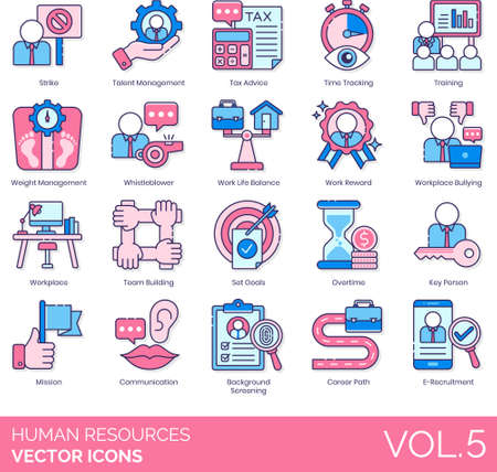 Line icons of human resources management, tax advice, work life balance, key person, background screening
