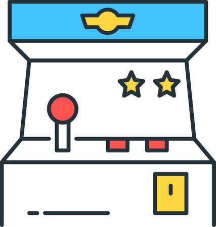 Line vector icon illustration of retro arcade game machine 矢量图像
