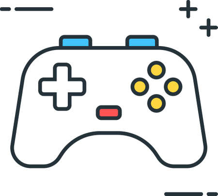 Line vector icon illustration of game controller joystick gamepad