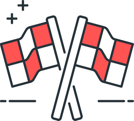 Line vector icon of racing game. Illustration of two crossed checkered flag.