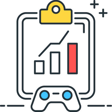 Line vector icon illustration of game analysis checkboard and a controller