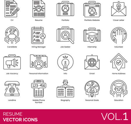 Line icons of work resume and job vacancy, portfolio, job seeker, job vacancy, personal information 免版税图像 - 157090543