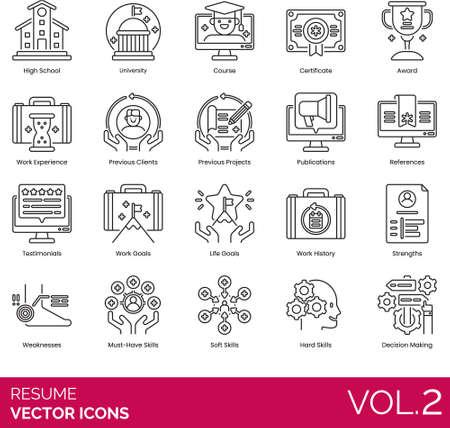 Line icons of work resume and job vacancy, award, work references, testimonials, skills