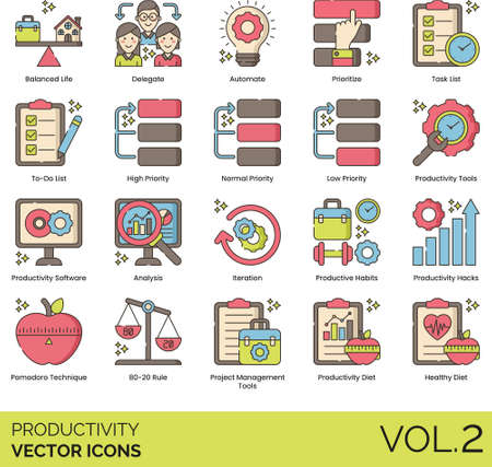Line icons of productivity and work performance, delegate, productivity software, project management tools, healthy diet 矢量图像