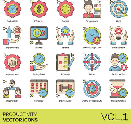Line icons of productivity and work performance, efficiency, time management, focus, procrastination