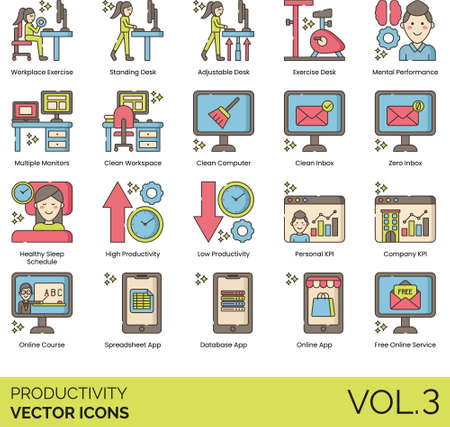 Line icons of productivity and work performance, workplace exercise, personal KPI, spreadsheet app, free online service 免版税图像 - 157090552