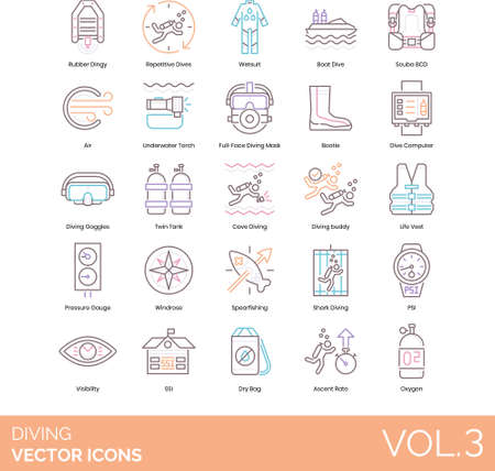 Line icons of diving accessories, categories, diving school, ascent rate 免版税图像 - 157090554