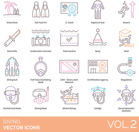 Line icons of diving equipment, gear, certification, snorkeling