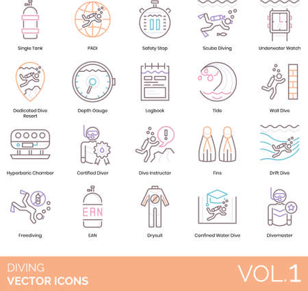 Line icons of diving equipment, devices, instructor, divemaster