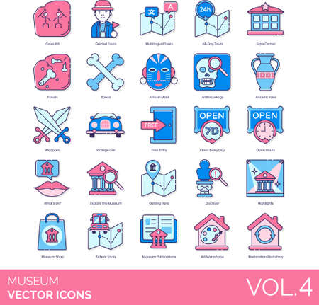 Line icons of museum tour, exhibition, exploration, collections,, publication