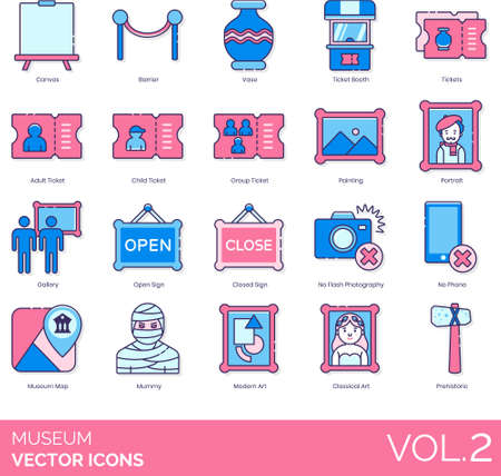 Line icons of museum ticketing, collections, rules, signage, map, categories 免版税图像 - 157090559