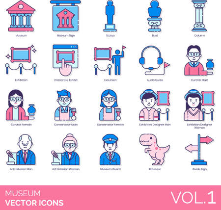 Line icons of museum objects, career, staff, collections, exhibition, guide sign 矢量图像