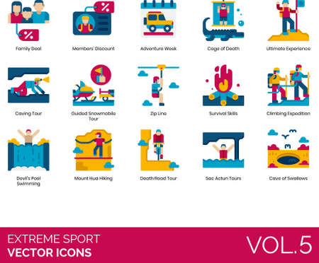 Flat icons of extreme sports, members discount, tourist attraction, extreme tour, expedition 免版税图像 - 157090561