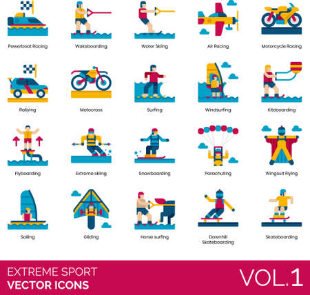 Flat icons of extreme sports, racing, water sports, air sports, winter sports 免版税图像 - 157090562