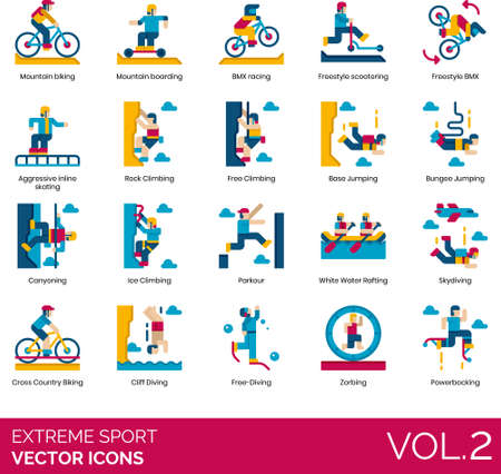 Flat icons of extreme sports, climbing, bungee jumping, biking, diving, parkour, powerbocking Illusztráció