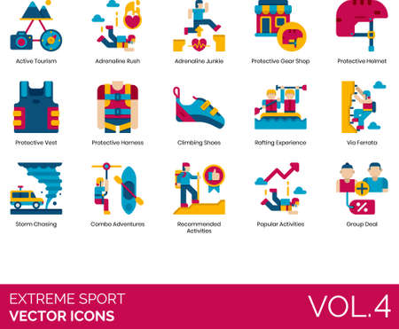 Flat icons of extreme sports, active tourism, adrenaline junkie, protective gear, popular activities