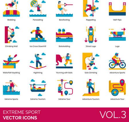 Flat icons of extreme sports, extreme tour, adventure tourism, parasailing, kayaking, street luge