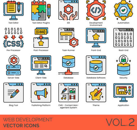 Line icons of web development, automation, task runner, database software, CMS