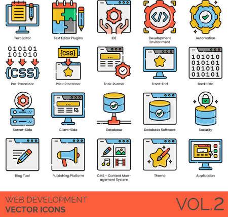 Line icons of web development, automation, task runner, database software, CMS 免版税图像 - 157090591
