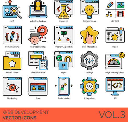 Line icons of web development, SEO, programming, algorithm, integration, API Illusztráció