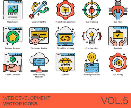 Line icons of web development, project management, cloud computing, domain, hosting solutions, QA testing Illusztráció